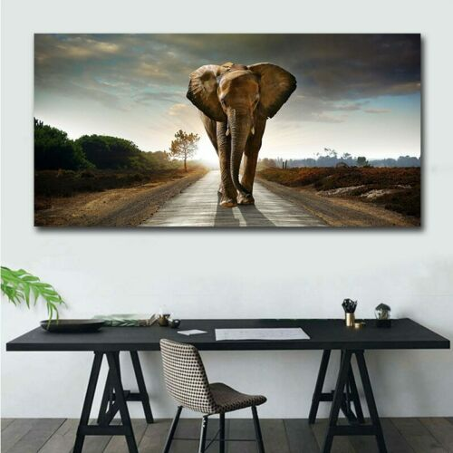 Wall Art Posters Elephant Canvas Prints Cute African Animal Oil Paintings