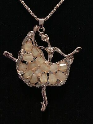 18k rose gold gf crystal ballet dancer dress girl princess pendant necklace