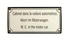 Eisenbahn Schild Abort im Motorwagen 15 x 7,5 cm Emaille Toilettenschild WC