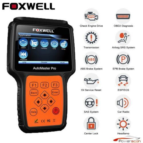 All Systems Car OBD2 Scanner Tool ABS SRS TRANS OIL EPB Live Data Foxwell NT624