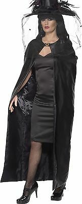 Womens 52in Long Cape Black Satin Costume Theatrical Cloak Adult Witch Vampiress