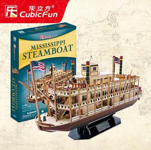CubicFun Paper Mississippi Steamboat Ship Souvenir 142 pcs Large 3D Puzzle Model