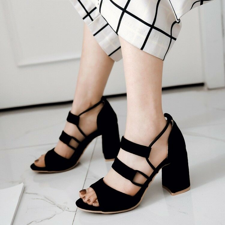 Women's Peep Toe Block High High High Heel Roma Gladiator Cut Out Sandals Faux Suede shoes f9d833
