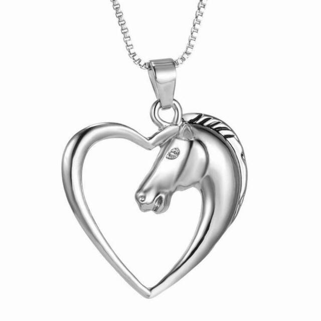 Women Silver Hollow Heart Charm Horse Head Pendant Necklace Animal Jewelry