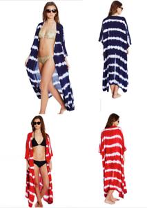 ece5e48083 Tie dye Kimono Boho Long Maxi Dress Beach Cover Red Navy Festival ...