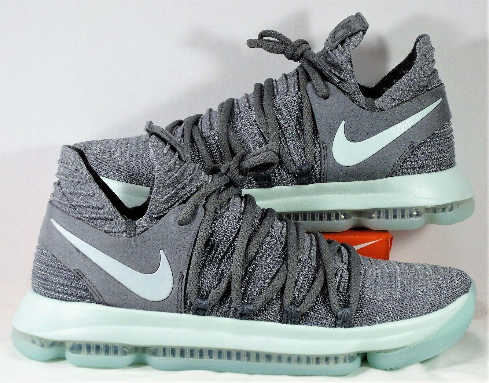 Nike Zoom KD 10 Kevin Durant Cool Grey & Igloo & White Sz 10 NEW 897815 002