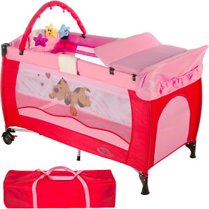 Cuna de Viaje Portátil Plegable con Acolchado Ajustable para Bebé Rosa Nuevo