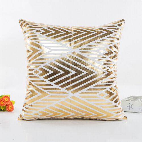 18X18 pouces Géométrique Feuille d/'Or Voiture Canapé Throw Pillow feuillets Cushion Cover Case