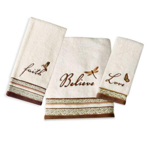 Towel Set Bath Hand 3 Piece Inspirational Faith Believe Love Butterfly New