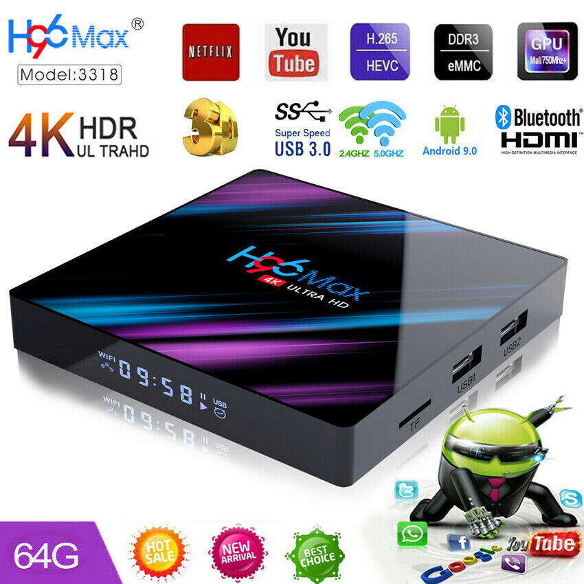 Android 8.1 4K WiFi HD Smart TV Box Quad-Core 4GB 64GB Media Streamers H96 Max