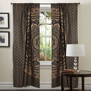 Bohemian-Mandala-Black-Gold-Ombre-Window-Curtain-Wall-Decor-Valances-Drapes-Art