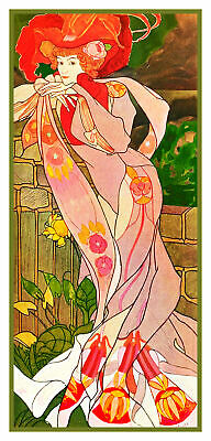 Georges de Feure Art Nouveau Woman in Red Counted Cross Stitch Pattern