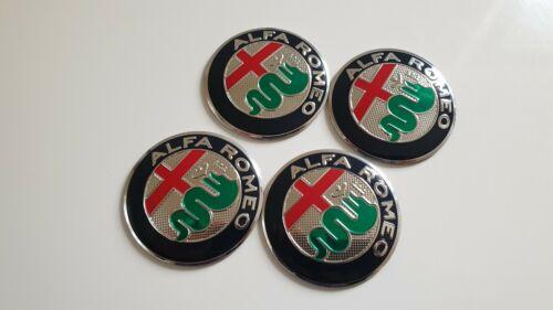 4 x56 mm Alfa Romeo Aufkleber Emblem 3D Selbstklebend  Radkappen Nabendeckel