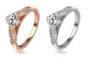 18k-Rose-Oro-Plateado-Anillo-Clasico-Cristal-Austriaco-aniversario-de-bodas-anillo