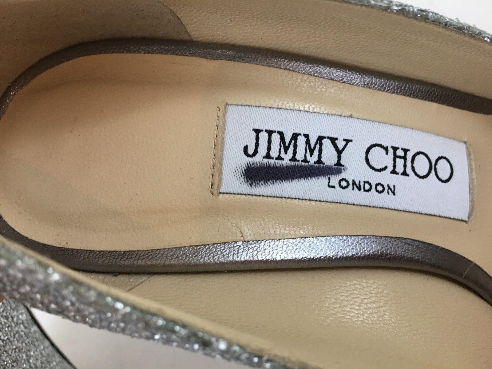 NEW NEW NEW JIMMY CHOO ROMY Silber GLITTER LEATHER HEEL PUMP Größe 34.5 US 4.5  595 a61feb