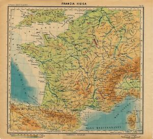 Cartina Della Francia Fisica.Carta Geografica Antica Francia Fisica France Paravia 1941 Old