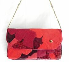 Vtg Carlo Fiori of Italy Clutch/Shoulder Bag Red Tone Snake Skin  Chain  Size M