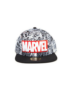 OFFICIAL-MARVEL-COMICS-LOGO-WITH-ALL-OVER-BLACK-amp-WHITE-COMIC-PRINT-SNAPBACK-CAP