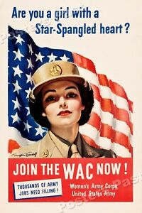 "Details about 1940s ""Join the WAC now!"" WWII Historic Propaganda War Poster  - 16x24"