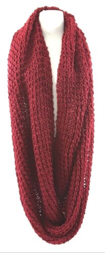 TS Chunky Yarn Deep Red Thick Super Soft Warm Double Infinity Winter Scarf