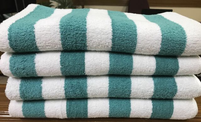 4 pack new large beach resort pool towels in cabana stripe 30x70