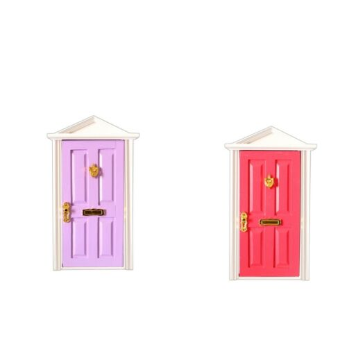 1:12 Dollhouse Miniature Accs Wooden 4 Panel Doors with Metal Hardware 2pcs