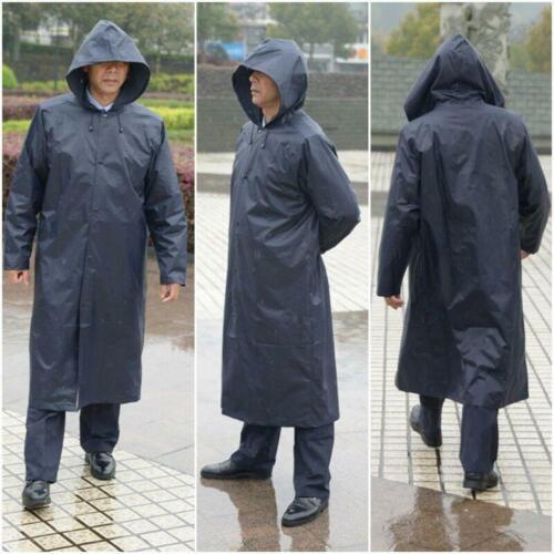 Men Raincoat Hooded Windbreaker Long Black Waterproof Working Button Jacket HOT