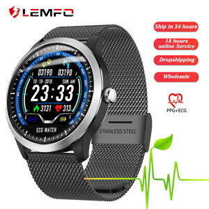 Lemfo-N58-Reloj-inteligente-hombre-Ritmo-cardiaco-ECG-PPG-Smart-Band-Android-iOS