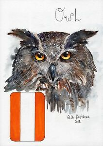 Owl-ABC-series-original-Gala-Kostroma-watercolor-bird-alphabet-painting-art