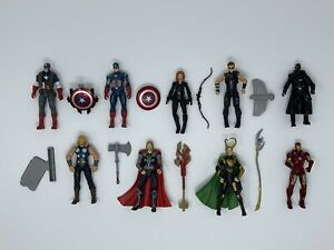 Marvel Avengers Hasbro Figure Lot 4 Inch Captain America Iron Man Thor Loki