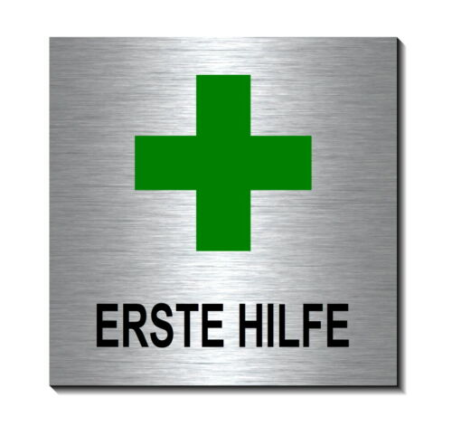 Erste Hilfe-Alu-Edelstahl-Optik-10 x 10 cm-Türschild-Schild-selbstklebend
