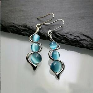 925-Silver-Dangle-Drop-Earrings-Ear-Hook-Moonstone-Women-Elegant-Jewelry-Gift