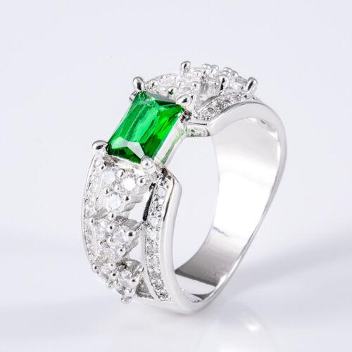 Elegant argent 925 bijoux taille émeraude vert émeraude femmes bague de mariage Taille 6-10