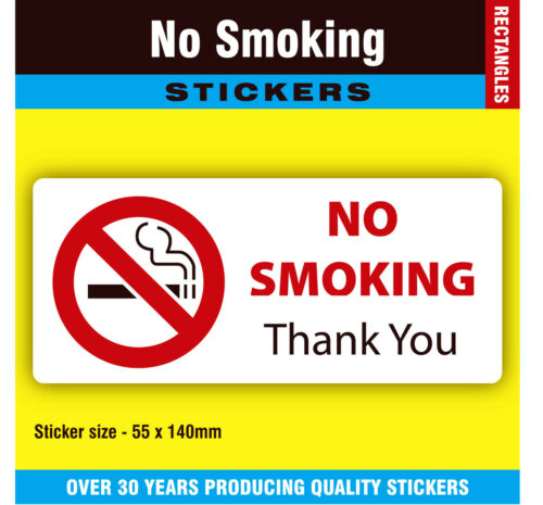 Pack of 12 No Smoking Stickers Labels Signs - 55 x 140mm Rectangles