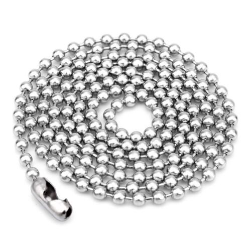 5pcs//lot rondes en Acier Inoxydable Boule Perle Chaîne Collier Hommes Femmes 1.6//2//2.4//3mm