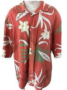 TRUST-Hawaiian-shirt-size-XXL-mens-brown-green-floral-linen-rayon-1-pocket