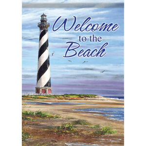 Welcome To The Beach Lighthouse House Flag 28 X 40 Double Sided Flag Ebay