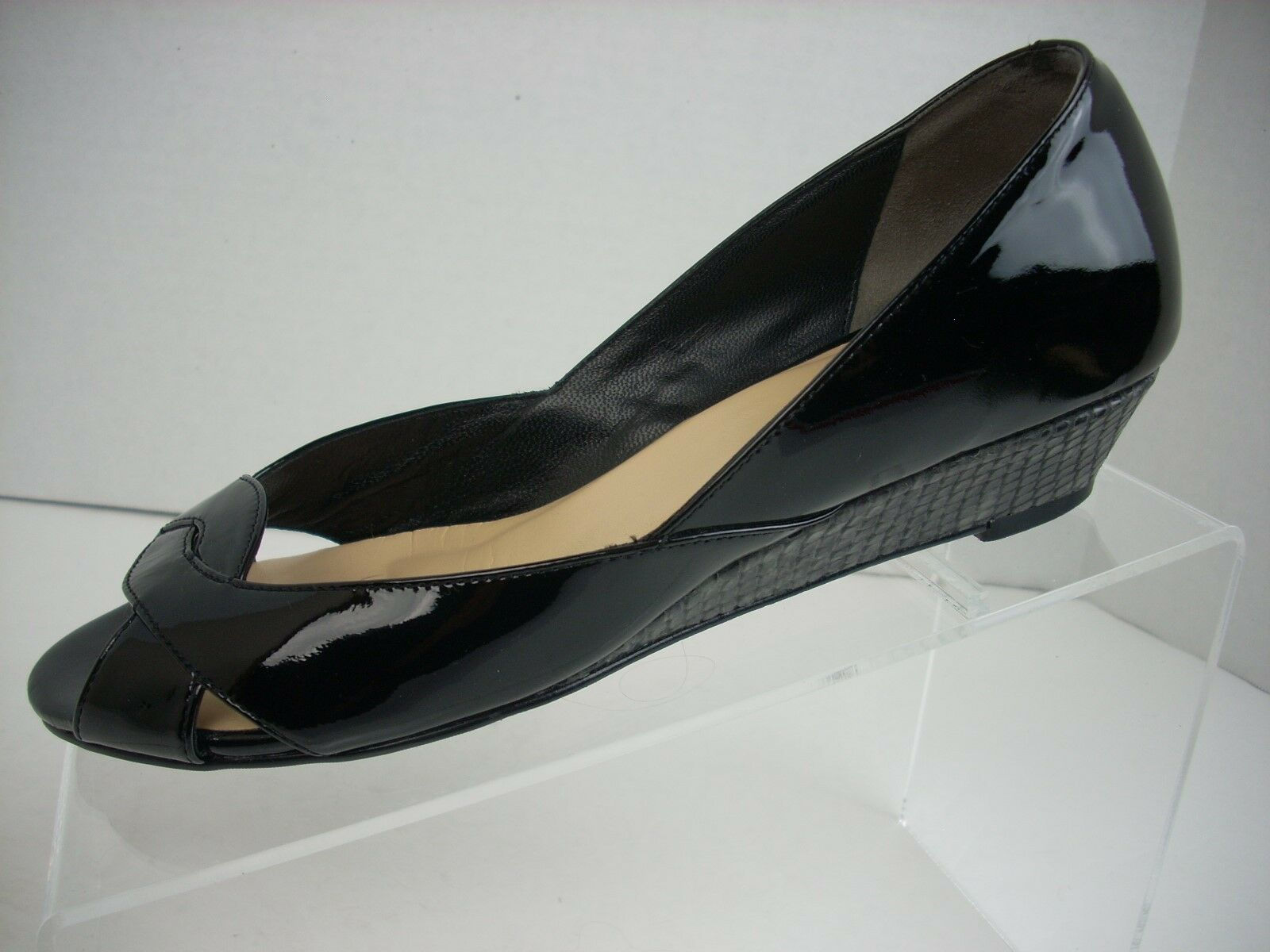 COLE HAAN Wedge Heels Wouomo Dimensione 6.5 B nero Patent Open Toe Career Box  178
