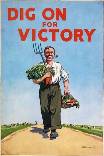 WB27 Vintage WW2 British Dig On For Victory WWII War Poster Re-Print A2//A3//A4
