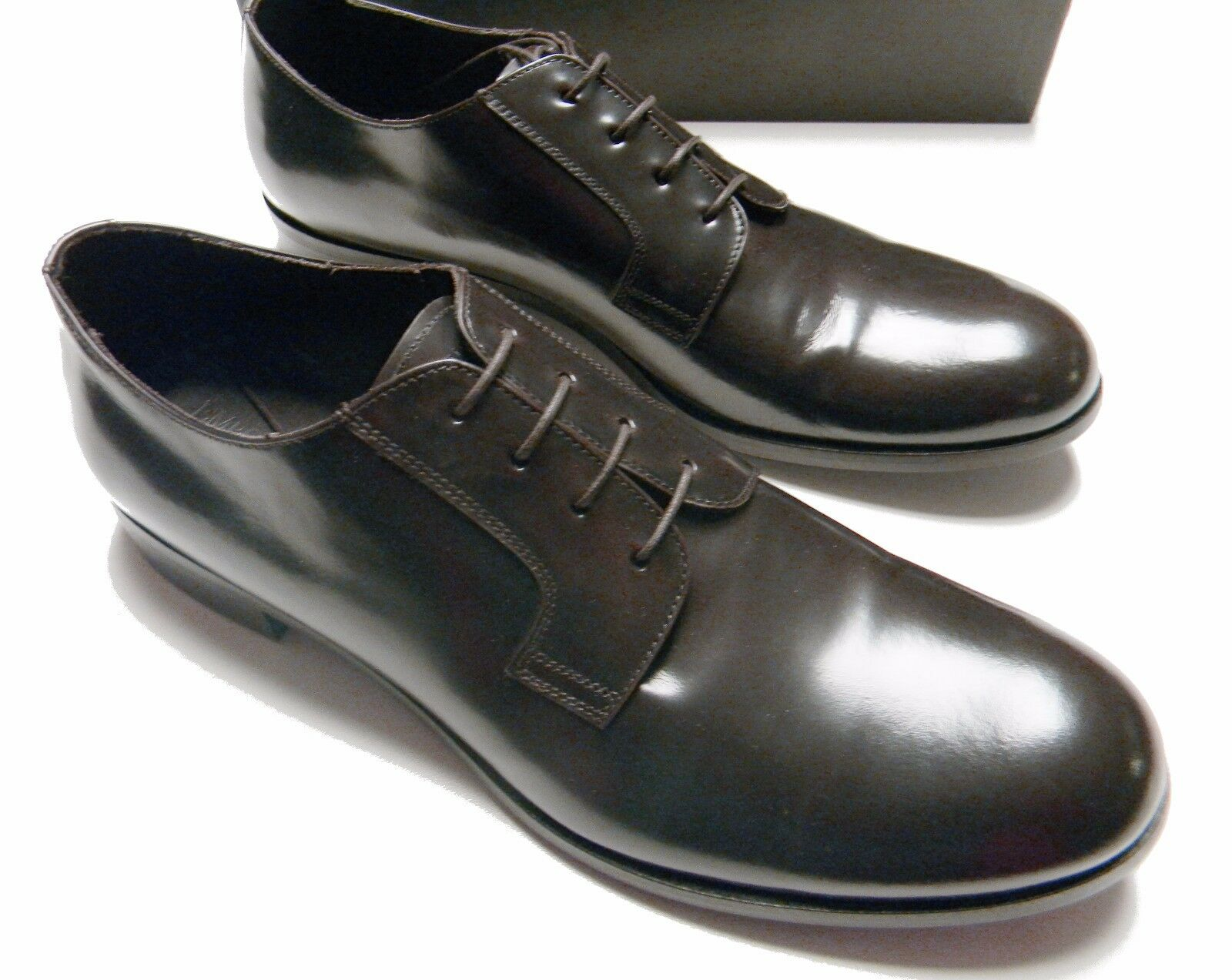 EMPORIO ARMANI Men's CLASSIC DERBY X4C182 Leather LACE-UP Brown DRESS SHOES - 10
