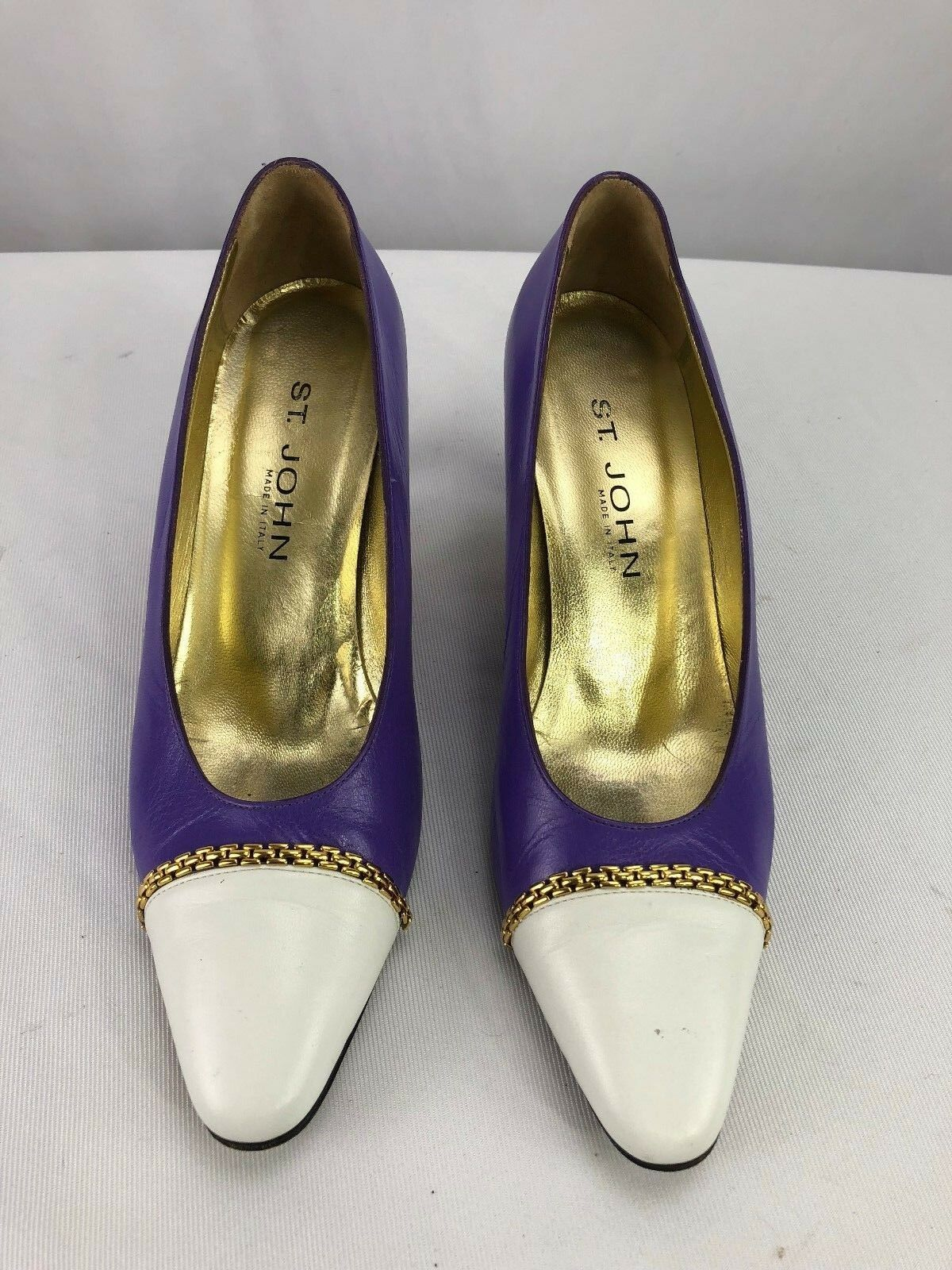 St John Purple Leather White Toe Classic Shoes Heels Size 8.5 AA