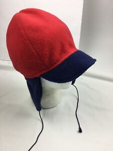 1f99118ac2373c COLUMBIA S/M Winter Hat Fleece Earflaps Vintage USA Made Red Short ...
