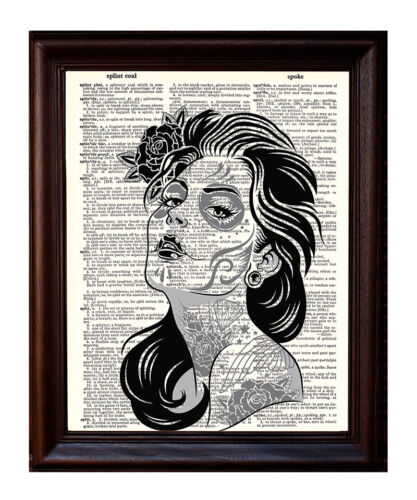 Day of the Dead Girl With Tattoos Dictionary Art Print Printed On Authentic
