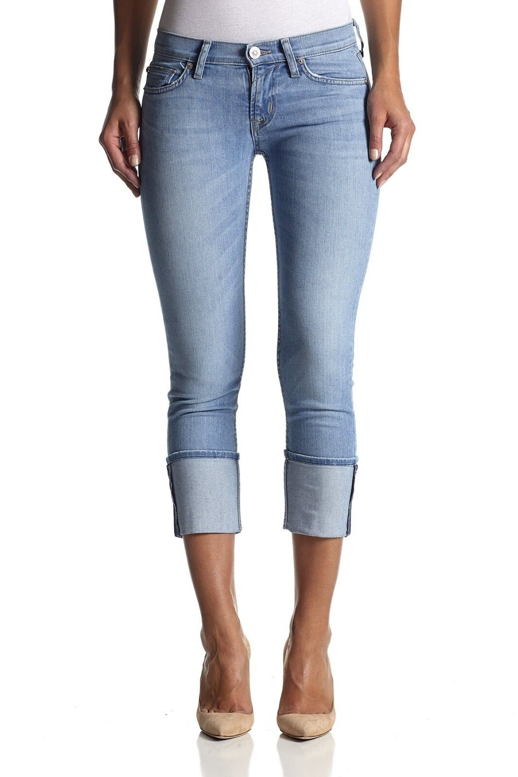 NWT HUDSON GLASS SHORE MUSE Cropped Skinny Jeans w  cuff BRAND NEW WC421DXA - 30