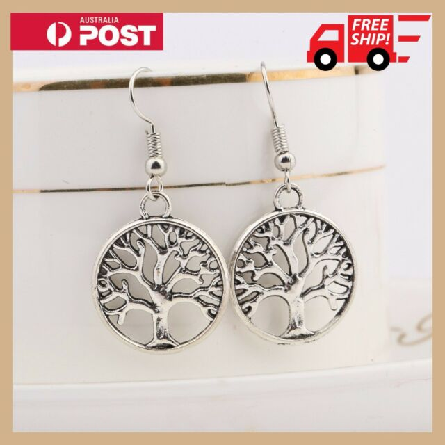 925 Sterling Silver Tree of Life Leaf Dangle Earrings Hollow Pendant Charm Hook