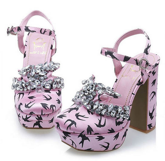 Pink satin crystal embellished embellished embellished swallow print mary jane shoes uk5 38 16725a