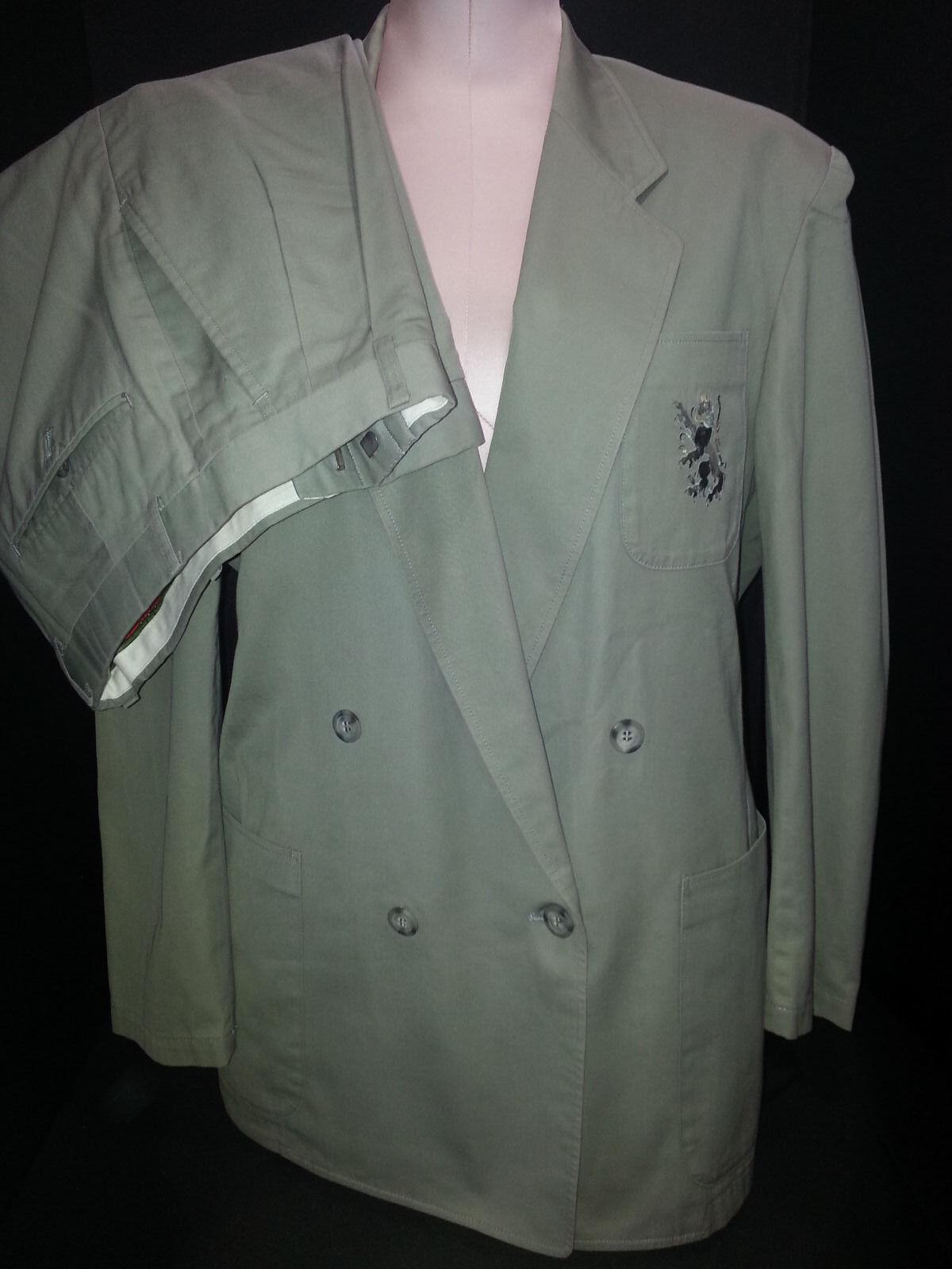 Vtg ROBERTA DE CAMERINO Pants Suit Double Breasted Blazer Size 12 Medium Green