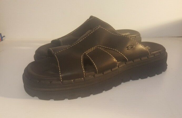 Skechers Jammers Women's Slip on Sandals LeatherShoes Sz. 8  Black LeatherShoes Sandals fcf6b8