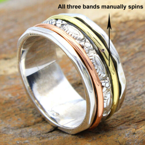 MEDITATION SPINNER BAND 3 Tone Solid 925 Sterling Silver Ring Size Choose Size