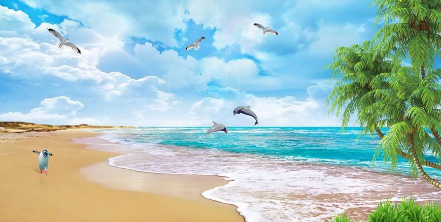 3D Pinguin Strand Strand Strand 875 Tapete Wandgemälde Tapete Tapeten Bild Familie DE Summer | Luxus  | Angemessene Lieferung und pünktliche Lieferung  |  a3c9cf